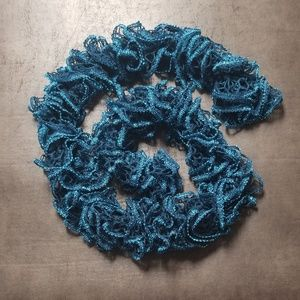 Blue Glitter Ruffle Scarf
